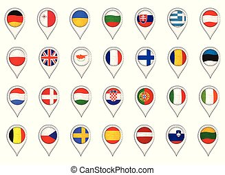 Set with EU Flags Made as Map Pointers
