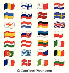 Set with Europiean Flags Made as Canvas