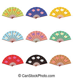 set with fans on white background vector illustration