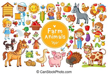 Set with farm animals.