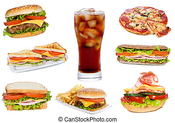 Set with fast food products on white backfround