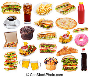 Set with fast food products on white background