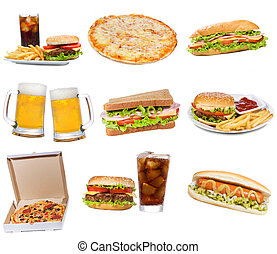 Set with fast food products