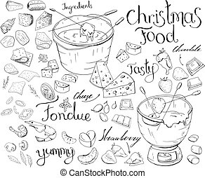 Set with festive fondue isolated on white. Cheese,fruit and chocolate fondue. Grocery products, hand drawn. Black and white, contour.