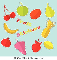 Set with Flat Fruit Stickers