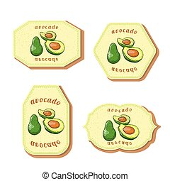 Set with Four Rectangular Labels for Avocado Fruit