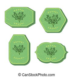 Set with Four Rectangular Labels for Fennel