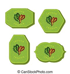 Set with Four Rectangular Labels for Lettuce