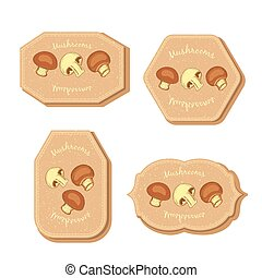 Set with Four Rectangular Labels for Mushrooms