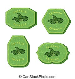 Set with Four Rectangular Labels for Spinach
