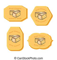 Set with Four Rectangular Labels with Cheese