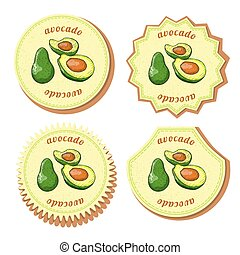 Set with Four Round Labels for Avocado Fruit
