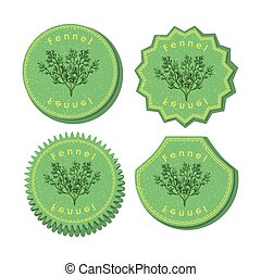 Set with Four Round Labels for Fennel