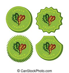 Set with Four Round Labels for Lettuce