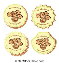 Set with Four Round Labels for Macadamia Nuts