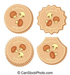 Set with Four Round Labels for Mushrooms