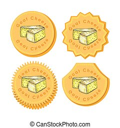 Set with Four Round Labels with Cheese