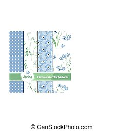 Set with four seamless spring patterns with blue flowers forget me knots
