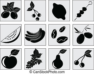 Set with fruit. Beautiful vector icons