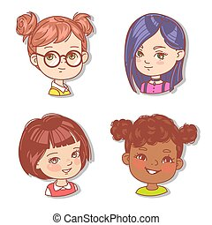 Set with girls faces. Userpics for blog.
