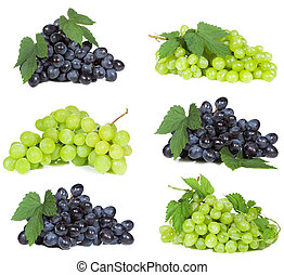 set with grape on white background