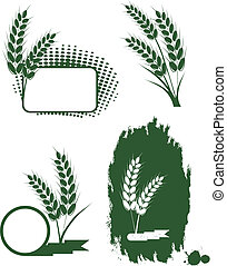 Set with green ears of wheat