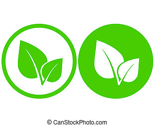 green leaf icons - set with green leaf icons in round frame
