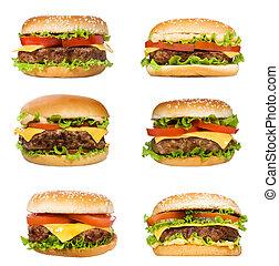 set with hamburgers on white background
