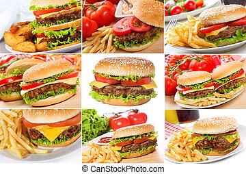 set with hamburgers