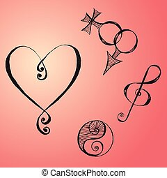 Hand Drawn Symbols - Set with Hand Drawn Symbols Made with...