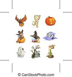 Happy Halloween icons - Set with Happy Halloween icons, ...