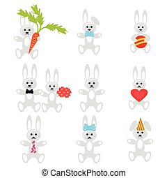 set with hares on white background