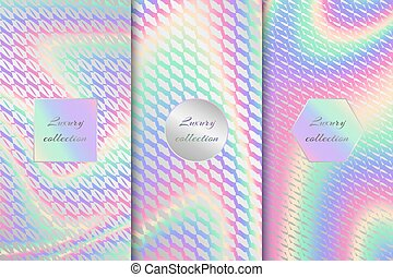 Set of vector backgrounds with bright holographic textures for luxury packaging design. Multi-colored backdrop for luxury projects