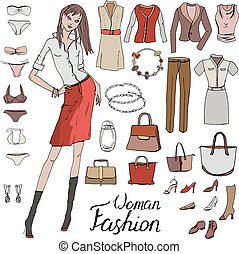 Set with isolated fashion objects - dress, clothes, bags for young woman on white background. Woman standing looking at camera. Office style. Calligraphy phrase. Brown,pink and grey color.