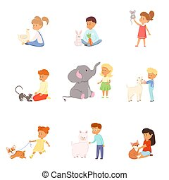 Set with kids playing and taking care of wild and pet animals. Raster illustration in flat cartoon style