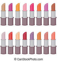 set with lipsticks on white
