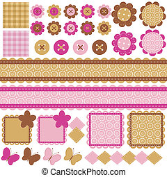 scrapbook objects on white - set with many different ...