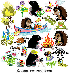 set with mole and hedgehog exploring the world of insects, ...