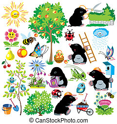 set with mole gardener - cartoon set with mole working in a...