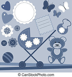 set with objects for baby birthday
