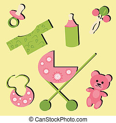 set with objects for baby
