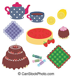 set with objects for tea party