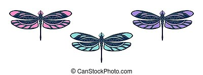 Set with openwork dragonfly icons. Colorful vector illustration. Isolated bright element with a beige outline on a white background. Creative concept for the design of logos, printed, covers, labeled.