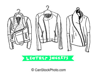 Set with original leather jackets - Vector black and white...