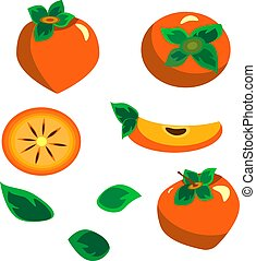 Set with persimmon. Vector illustration. In flat style .