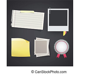set with photo, labels, stamps, etc