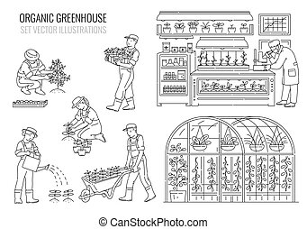 Set with plants and people in greenhouse, line vector ...