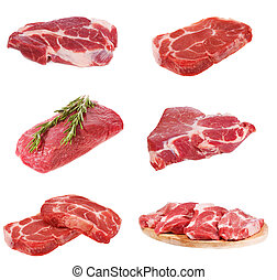 set with raw meat on white background