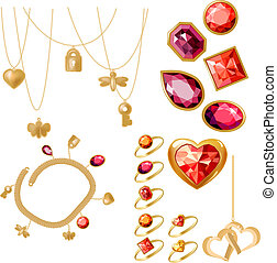 Set with rings, gems and bracelet