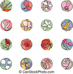 Set with round floral icons. Colored, black contour. Tropic, cultivate, wild flowers.